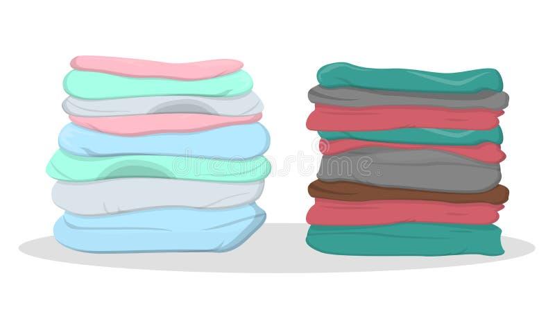 Pilha da roupa da cor diferente ilustração do vetor