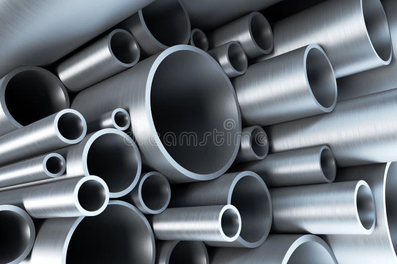 Pilha da tubulação de aço ilustração stock