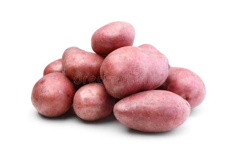 Pilha das batatas isoladas no branco foto de stock royalty free