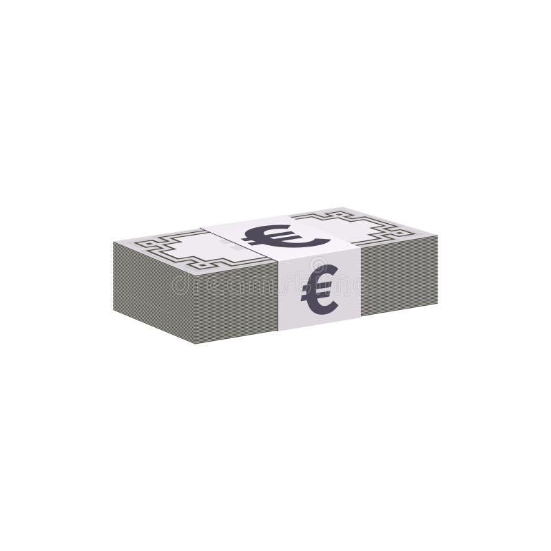 Pilha das cédulas do Euro, símbolo de moeda ilustração stock