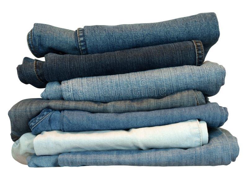 Pilha das calças de brim fotos de stock royalty free