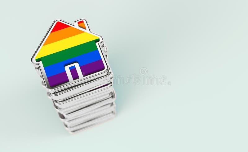 A pilha das casas coloridas com a bandeira do arco-?ris como o n?mero crescente de pares alegres decide viver junto Isolado no ve ilustração royalty free
