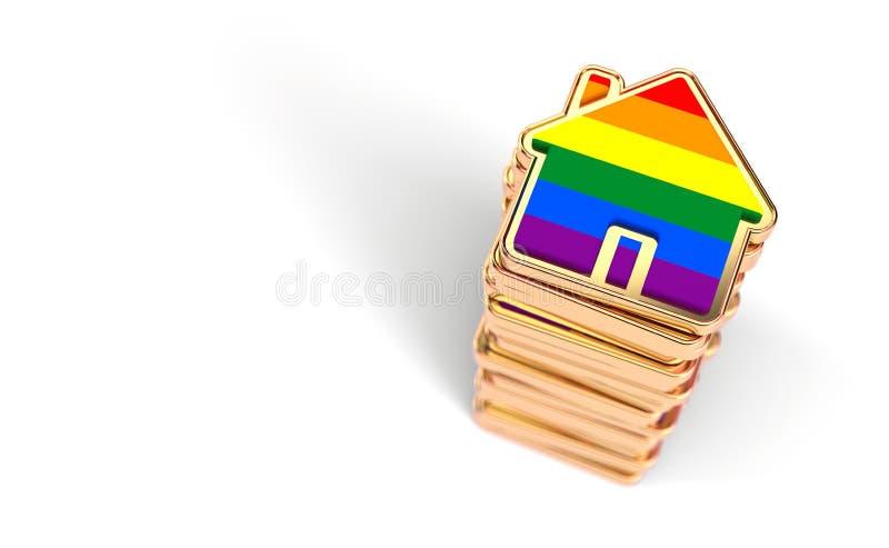 A pilha das casas coloridas com a bandeira do arco-?ris como o n?mero crescente de pares alegres decide viver junto Isolado no fu ilustração royalty free