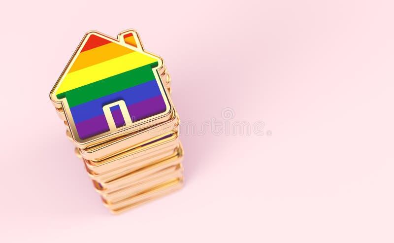 A pilha das casas coloridas com a bandeira do arco-?ris como o n?mero crescente de pares alegres decide viver junto no rosa paste ilustração royalty free