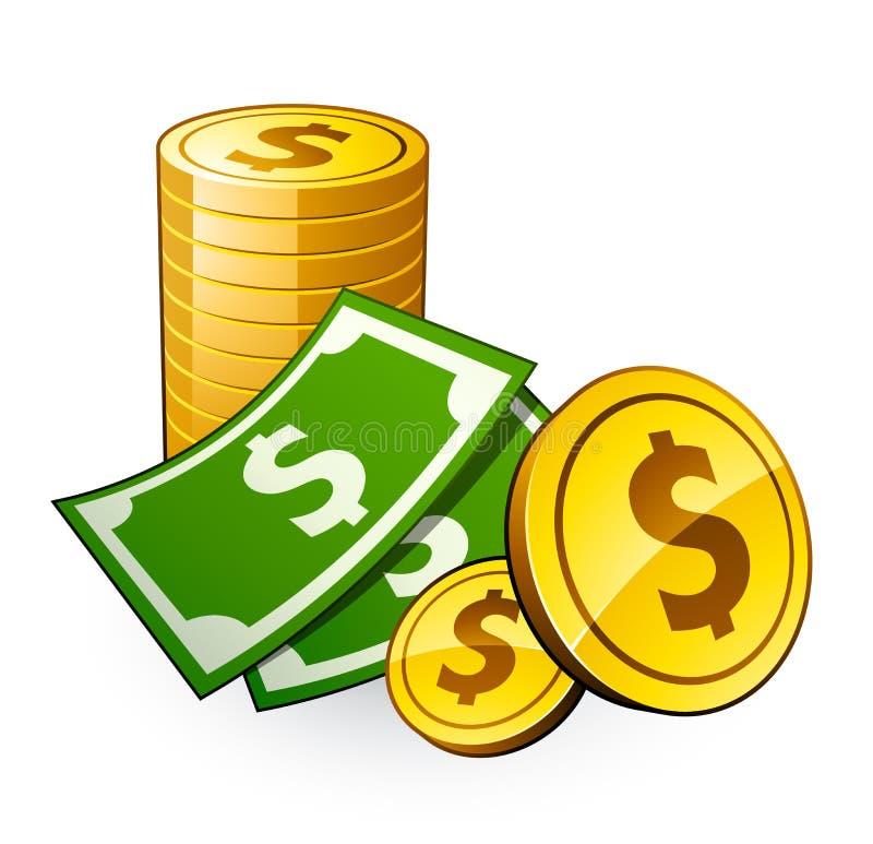 Pilha das moedas com dólar