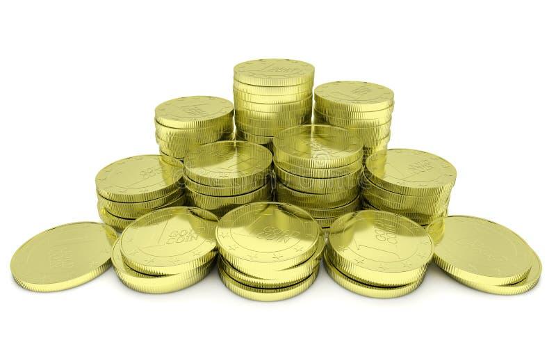 Pilha das moedas de ouro isolada no branco, opinião do close up imagens de stock
