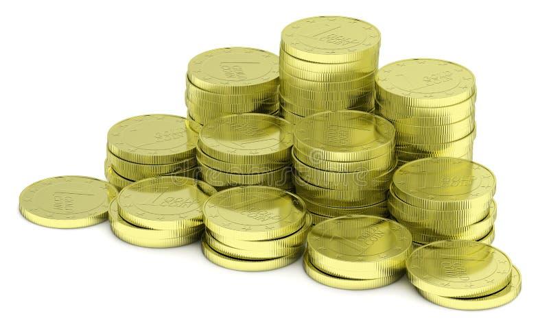 Pilha das moedas de ouro no branco, diagonal ilustração stock