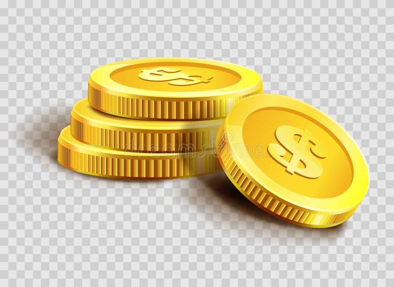 Pilha das moedas de ouro ou montão dourado do banco do dinheiro da moeda do dólar ilustração stock