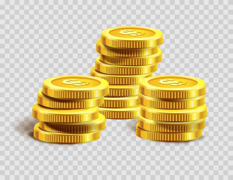 Pilha das moedas de ouro ou montão dourado do banco do dinheiro da moeda do dólar ilustração do vetor