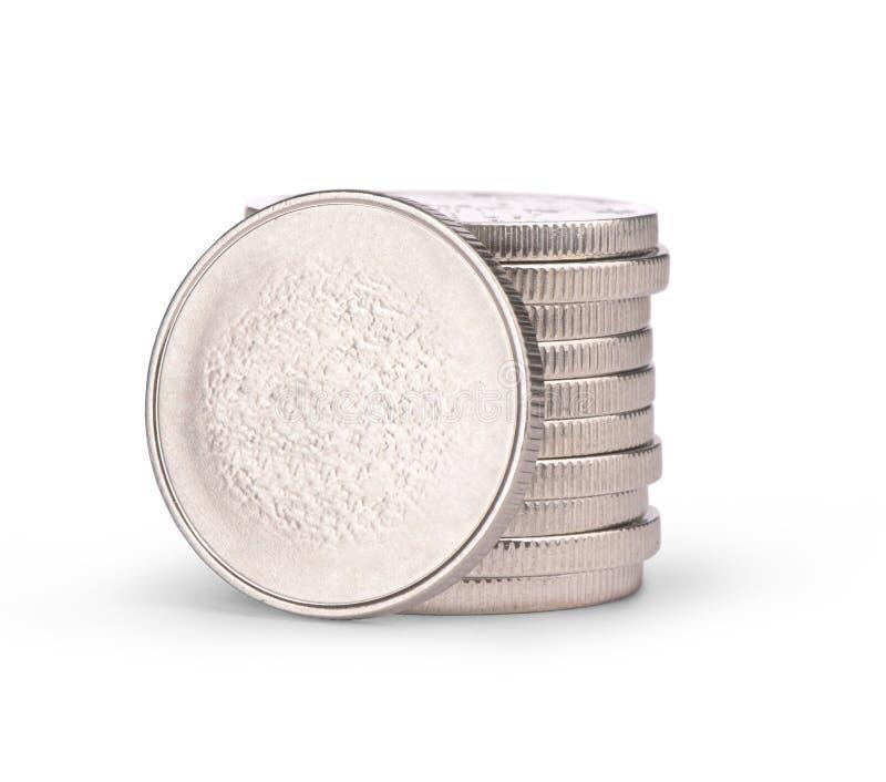 Pilha das moedas de prata imagens de stock royalty free