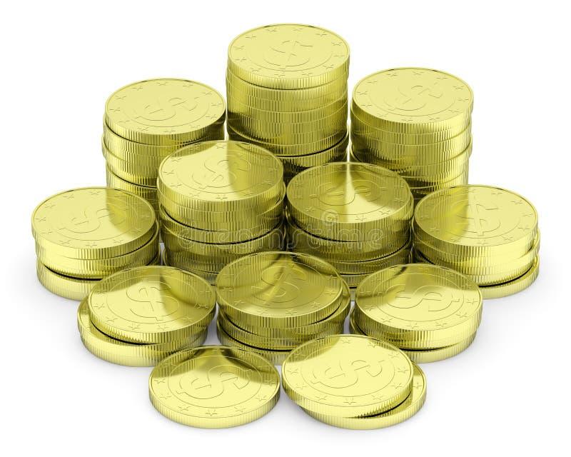 Pilha das moedas do dólar do ouro no branco ilustração stock
