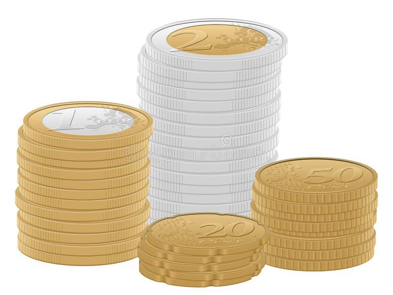 Pilha das moedas do Euro ilustração do vetor