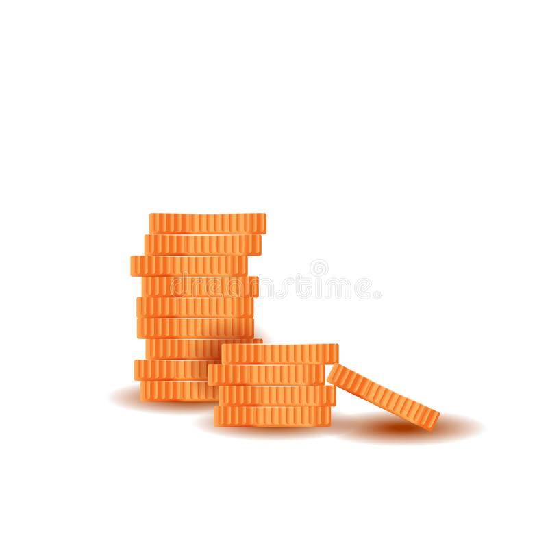 Pilha das moedas douradas isoladas no fundo branco Dinheiro feito do metal ilustração royalty free