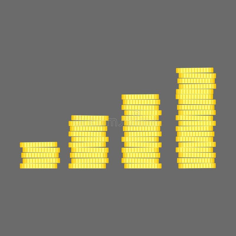 Pilha das moedas Vetor liso da ilustração do projeto do ícone do dinheiro do ouro Bu ilustração stock