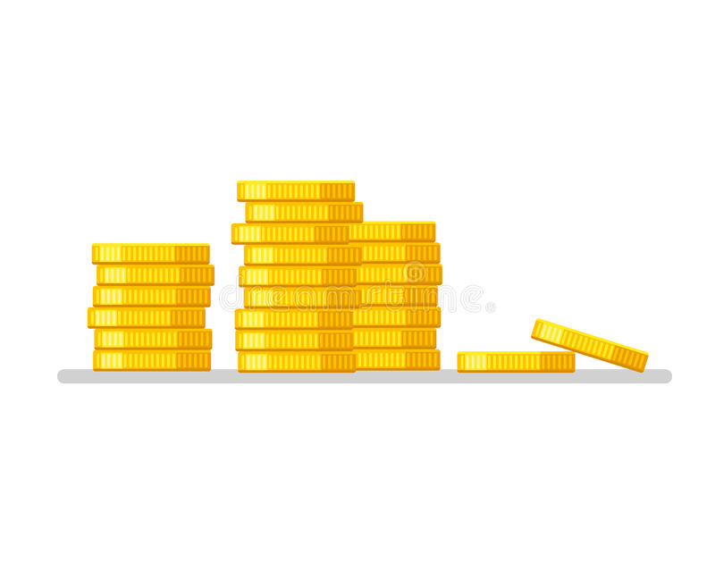 Pilha das moedas Vetor liso da ilustração do projeto do ícone do dinheiro do ouro Conceito do negócio ilustração stock