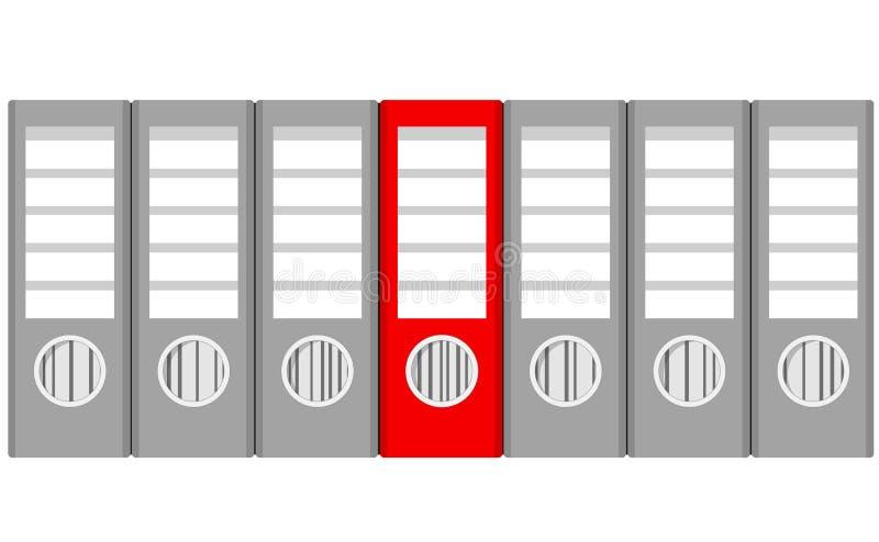 Pilha das pastas de anel e do vermelho cinzentos uma no branco, vetor conservado em estoque IL ilustração royalty free