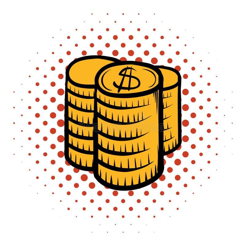 Pilha de ícone da banda desenhada das moedas ilustração do vetor