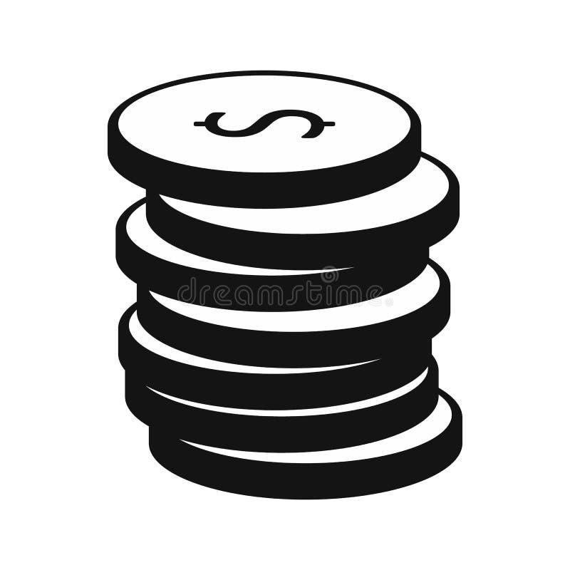 Pilha de ícone das moedas de ouro ilustração do vetor