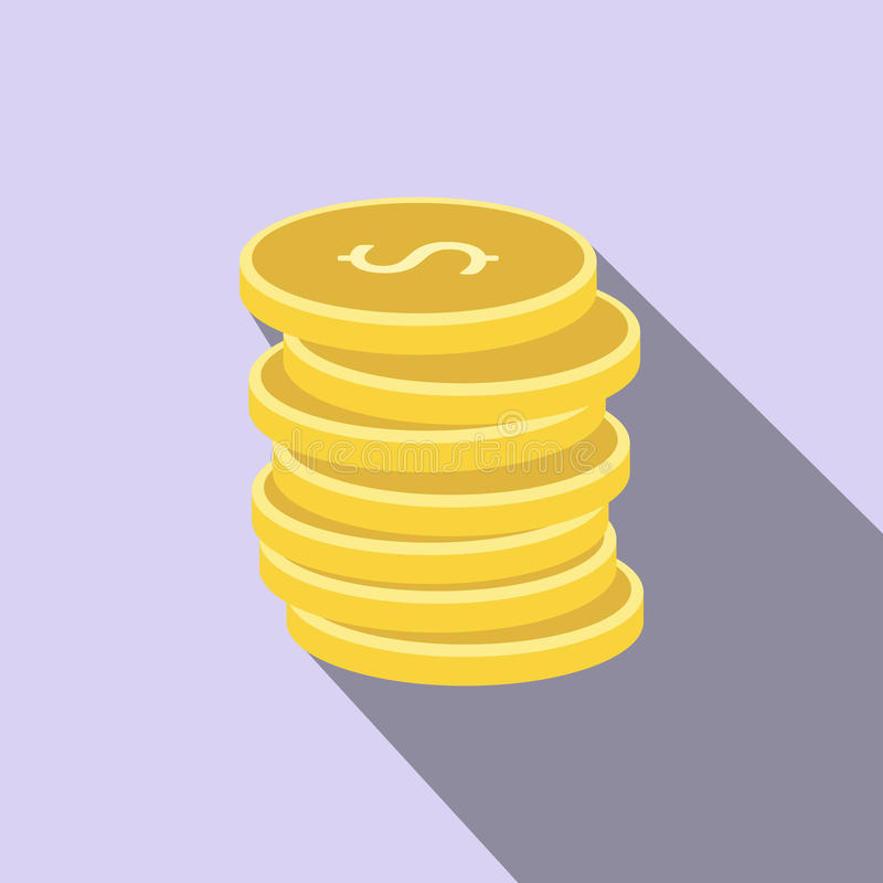Pilha de ícone liso das moedas de ouro ilustração royalty free
