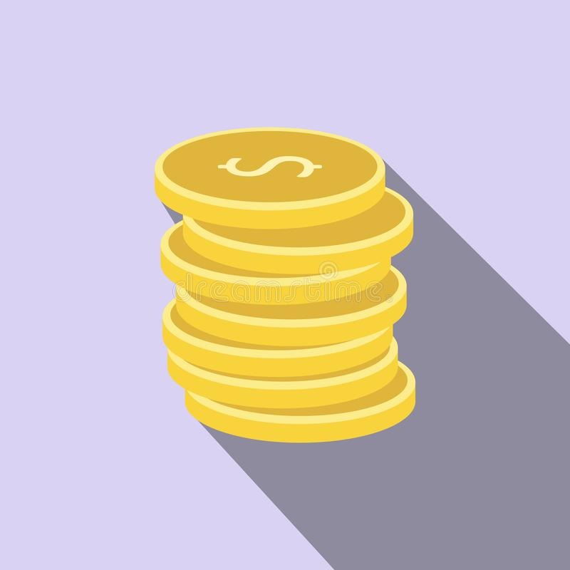 Pilha de ícone liso das moedas de ouro ilustração do vetor