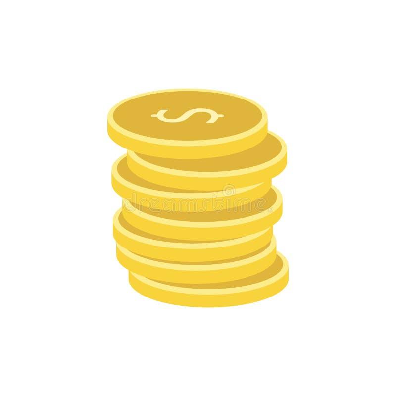 Pilha de ícone liso das moedas de ouro ilustração stock
