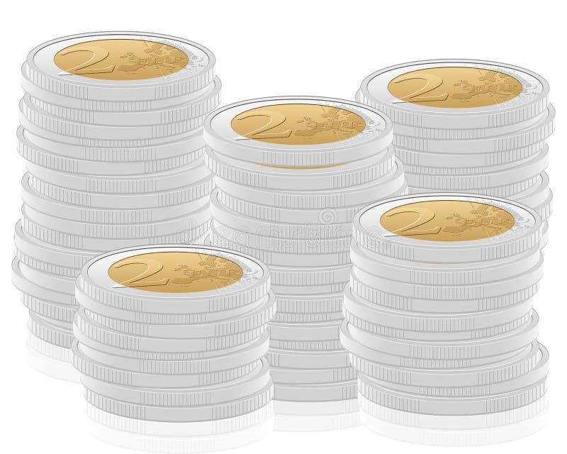 pilha de 2 euro- moedas ilustração stock