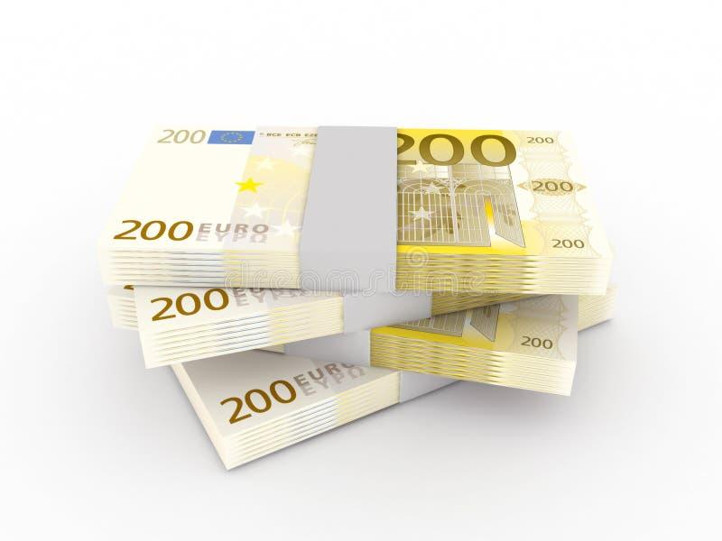 Pilha de 200 euro- contas ilustração royalty free