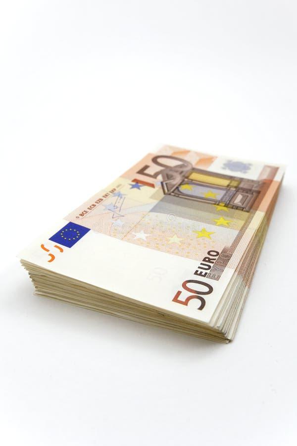 Pilha de 50 euro- contas imagem de stock