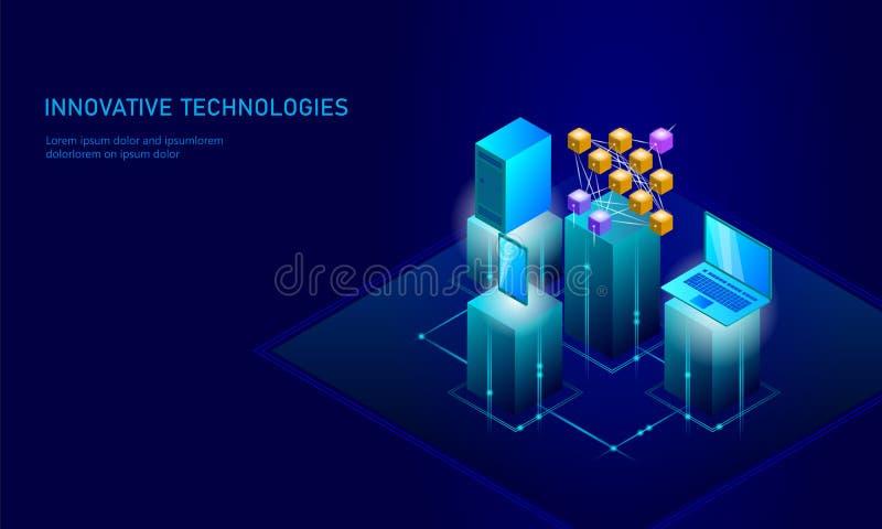 Pilha de aprendizagem profunda do smartphone da rede neural Conceito cognitivo da tecnologia Memória lógica da inteligência artif ilustração stock