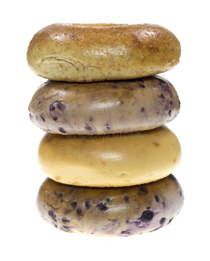 Pilha de bagels assorted foto de stock