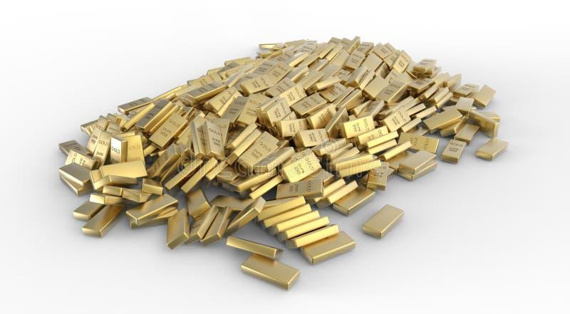 Pilha de barras de ouro ilustração stock