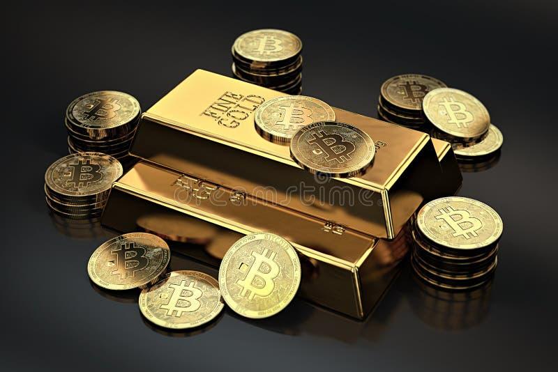 Pilha de Bitcoins e de barra do lingote dos lingotes do ouro Cryptocurrencies como um ouro futuro a maioria de mercadoria precios ilustração do vetor