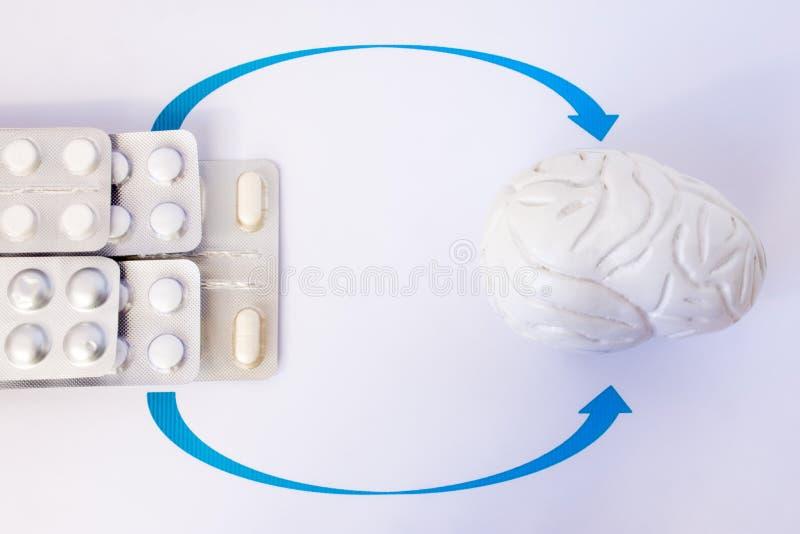 Pilha de bolhas com a cápsula ou o comprimido indicada por setas no modelo anatômico do cérebro humano Tratamento da foto do conc fotos de stock royalty free