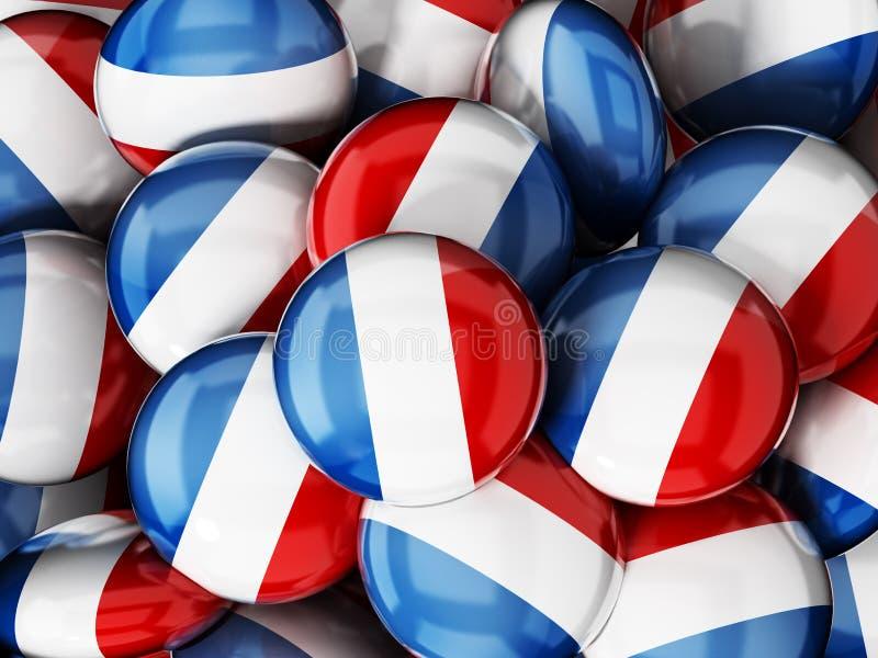 Pilha de botões com bandeira francesa ilustração 3D ilustração do vetor