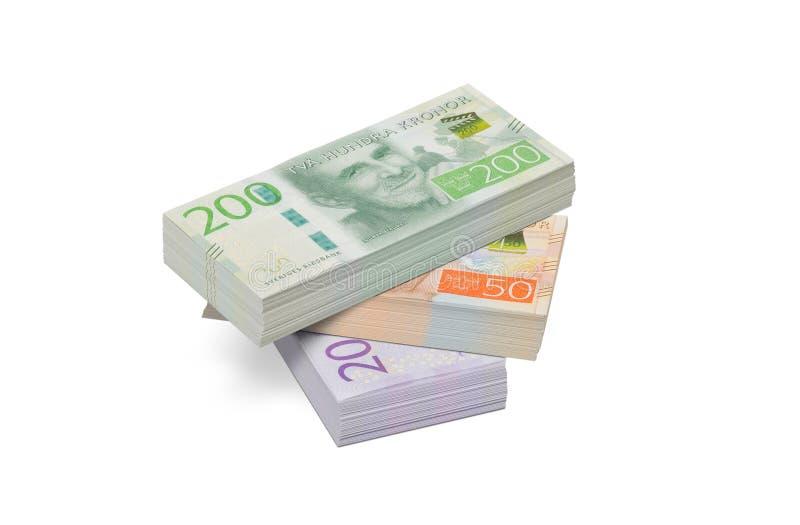 Pilha de cédulas suecos fotografia de stock royalty free