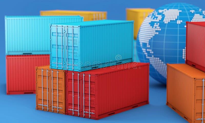 Pilha de caixa dos recipientes, mundial do negócio de exportação da importação ilustração do vetor