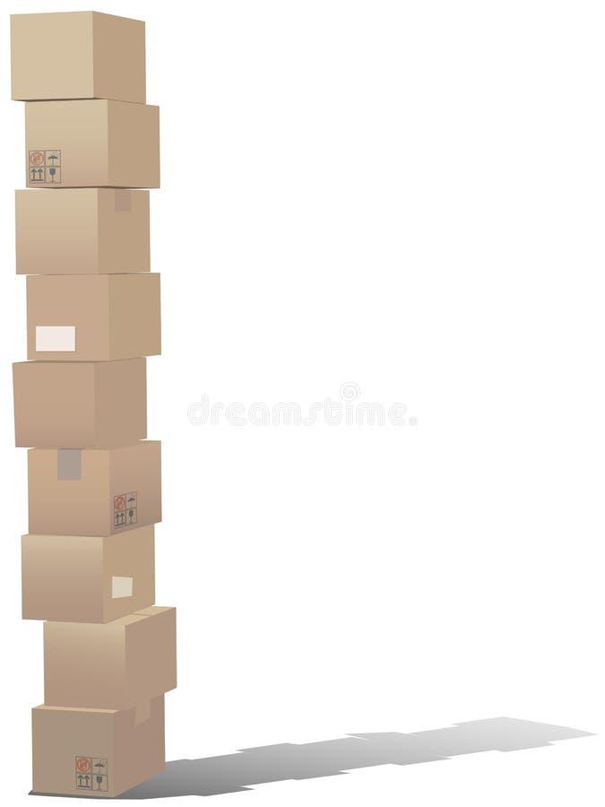 Pilha de caixas da caixa do transporte ilustração royalty free