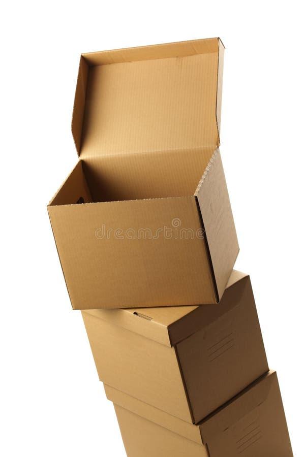 Pilha de caixas de cartão foto de stock