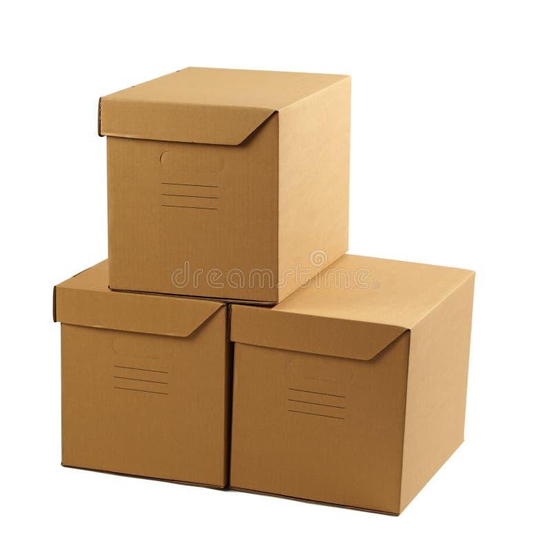 Pilha de caixas de cartão fechadas fotografia de stock