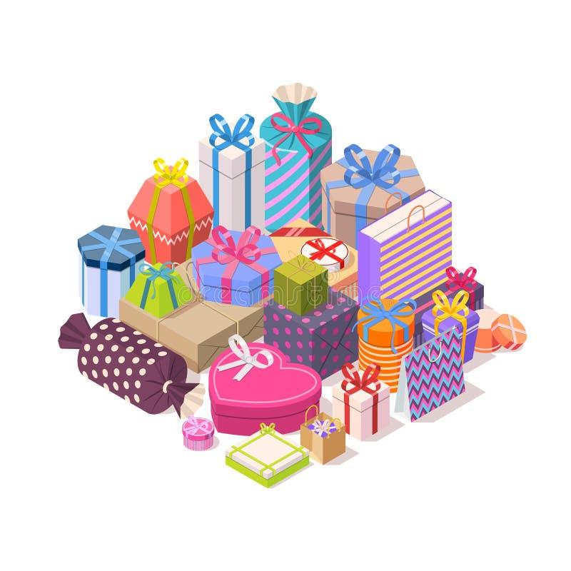 Pilha de caixas de presente coloridas ilustração royalty free
