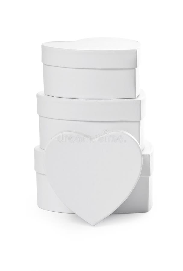 Pilha de caixas de presente dadas forma coração. fotografia de stock royalty free