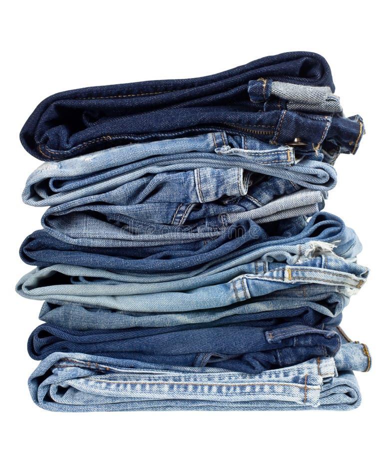 Pilha de calças de ganga imagem de stock royalty free
