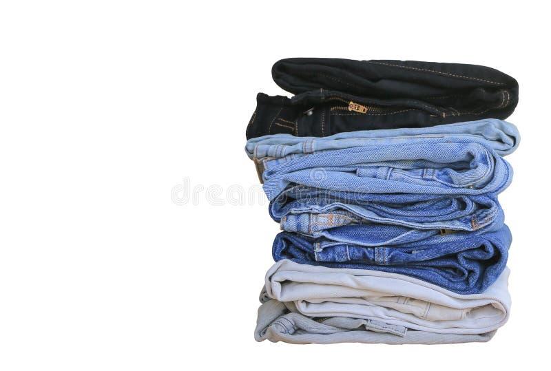 Pilha de calças de ganga fotografia de stock royalty free