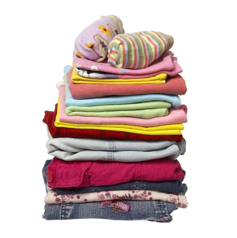 Pilha de camisas da roupa foto de stock