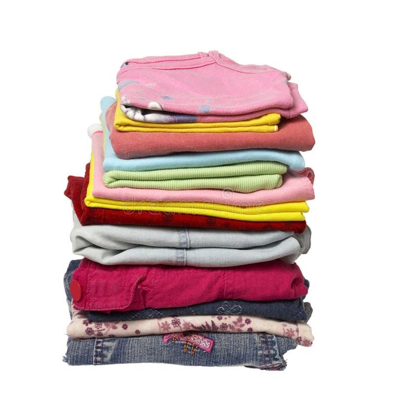 Pilha de camisas da roupa imagens de stock royalty free