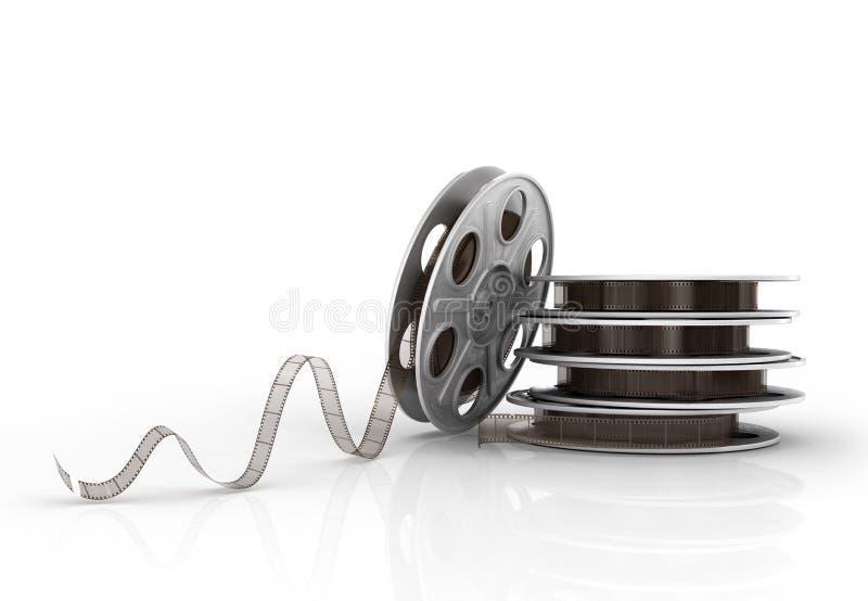 Pilha de carretéis de filme ilustração stock
