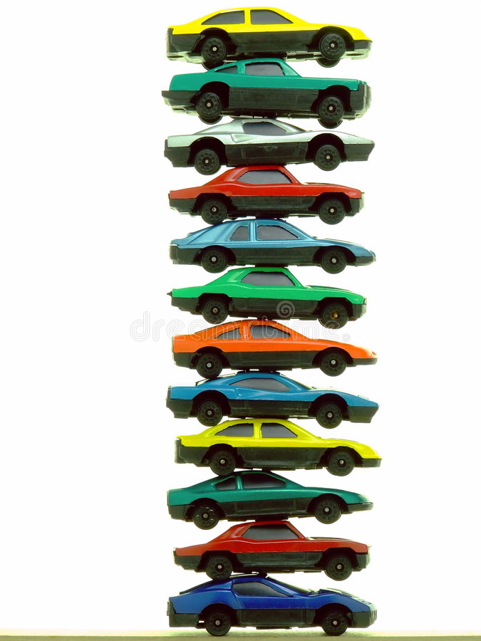 Pilha de carros do brinquedo fotografia de stock