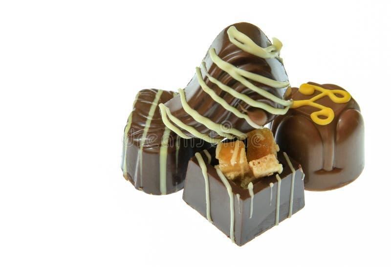 Pilha de chocolates feitos a mão foto de stock