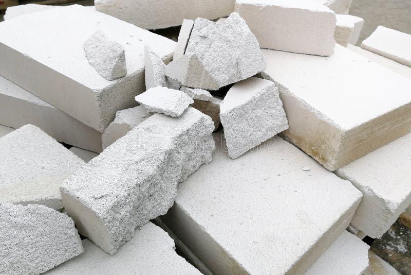 Pilha de concreto ventilado esterilizado quebrado para o fundo imagem de stock