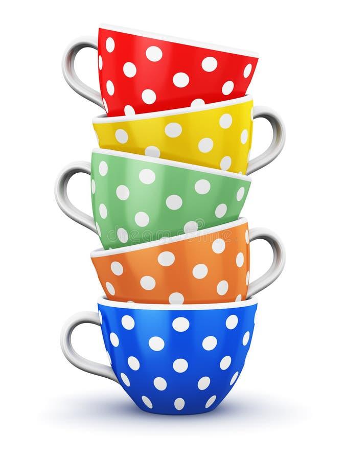 Pilha de copos de café do às bolinhas da cor ilustração do vetor